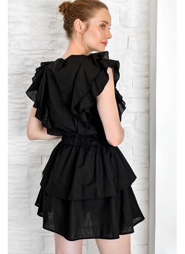 Pink Park Fırfırlı Beli Büzgülü Premium Elbise Siyah